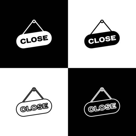 Set Hanging sign with text Close icons isolated on black and white background. Business theme for cafe or restaurant. Vector Illustration