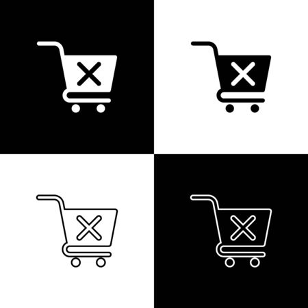 Set Remove shopping cart icons isolated on black and white background. Online buying concept. Delivery service sign. Supermarket basket and X mark symbol. Vector Illustration