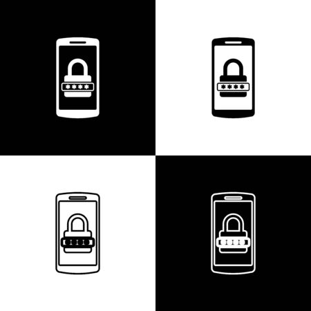 Set Mobile phone and password protection icons isolated on black and white background. Security, safety, personal access, user authorization, privacy. Vector Illustration