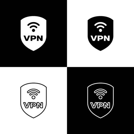 Set Shield with VPN and wifi wireless internet network symbol icons isolated on black and white background. VPN protect safety concept. Vector Illustration