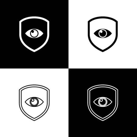 Set Shield and eye icons isolated on black and white background. Security, safety, protection, privacy concept. Vector Illustration