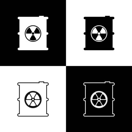 Set Radioactive waste in barrel icon isolated icons isolated on black and white background. Toxic refuse keg. Radioactive garbage emissions, environmental pollution. Vector Illustration