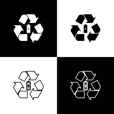 Set Battery with recycle symbol line icon isolated icons isolated on black and white background. Battery with recycling symbol - renewable energy concept. Vector Illustration Illustration