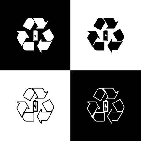 Stellen Sie die Batterie mit dem Symbol für die Recycling-Symbolzeile ein. Isolierte Symbole, die auf schwarzem und weißem Hintergrund isoliert sind. Batterie mit Recyclingsymbol - Konzept für erneuerbare Energien. Vektorillustration
