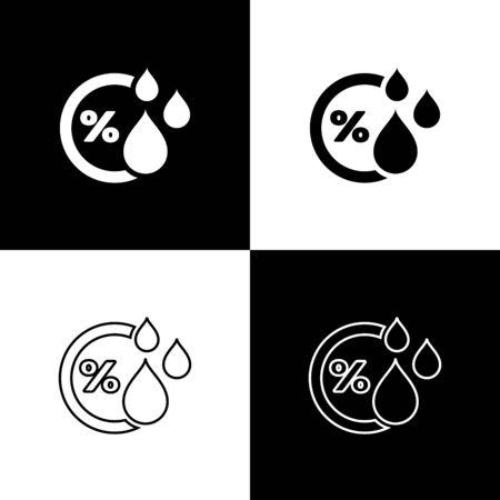 Stellen Sie Luftfeuchtigkeitssymbol isolierte Symbole ein, die auf schwarzem und weißem Hintergrund isoliert sind. Wetter und Meteorologie, Thermometersymbol. Vektorillustration Vektorgrafik