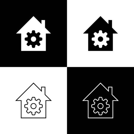 Set Smart home settings icon isolated icons isolated on black and white background. Remote control. Vector Illustration