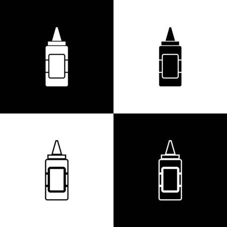 Set Mustard bottle icons isolated on black and white background. Vector Illustration
