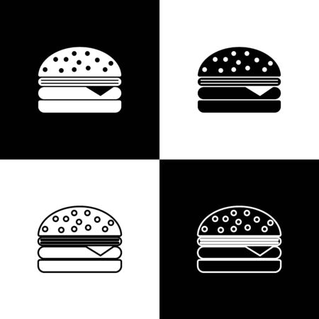 Set Burger icons isolated on black and white background. Hamburger icon. Cheeseburger sandwich sign. Vector Illustration