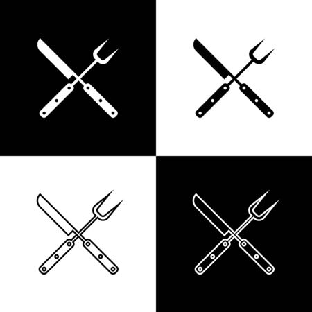 Set Crossed knife and spatula icons isolated on black and white background. BBQ knife and spatula sign. Barbecue and grill tools. Vector Illustration