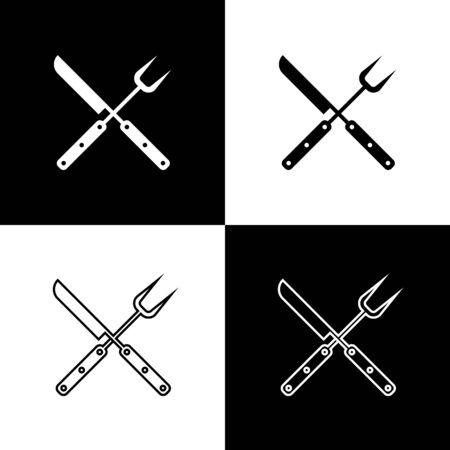 Stellen Sie gekreuzte Messer- und Spachtelikonen ein, die auf schwarzem und weißem Hintergrund lokalisiert werden. Grillmesser und Spachtelzeichen. Grill- und Grillgeräte. Vektorillustration Vektorgrafik