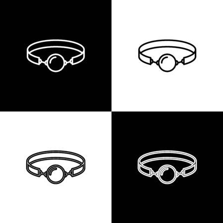 Impostare il bavaglio a sfera in silicone con un'icona di cintura in pelle isolata su sfondo bianco e nero. Accessorio fetish. Giocattolo del sesso per uomini e donne. illustrazione vettoriale