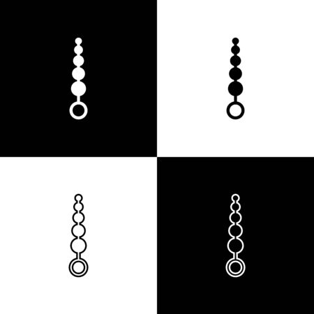 Set Anal beads icon isolated on black and white background. Anal balls sign. Fetish accessory. Sex toy for men and woman. Vector Illustration