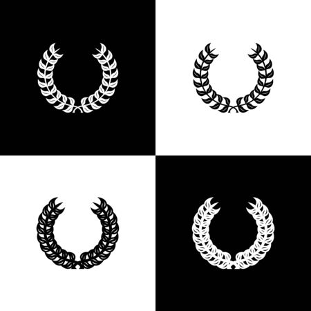 Set Laurel wreath icon isolated on black and white background. Triumph symbol. Vector Illustration