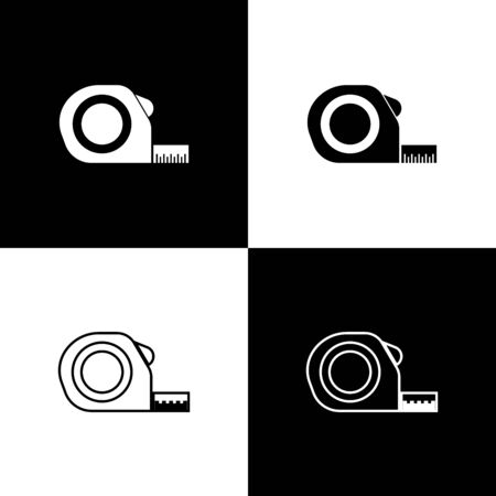 Set Roulette construction icon isolated on black and white background. Tape measure symbol. Vector Illustration Stock Illustratie