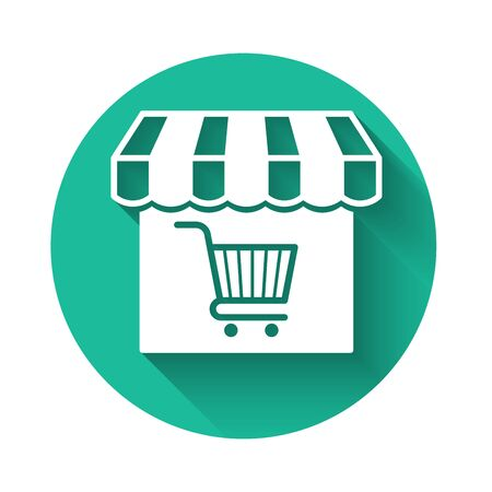 White Shopping building or market store with shopping cart icon isolated with long shadow. Shop construction. Supermarket basket symbol. Green circle button. Vector Illustration