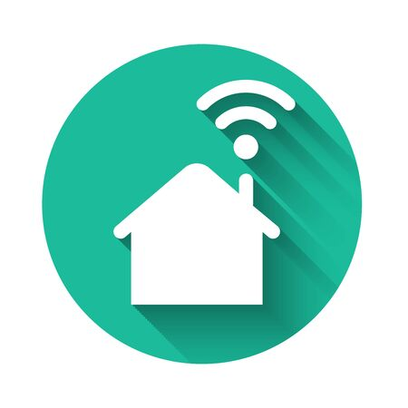 White Smart home with wi-fi icon isolated with long shadow. Remote control. Green circle button. Vector Illustration