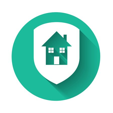 White House under protection icon isolated with long shadow. Home and shield. Protection, safety, security, protect, defense concept. Green circle button. Vector Illustration Vectores