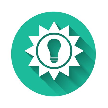 White Solar energy panel icon isolated with long shadow. Sun and light bulb. Green circle button. Vector Illustration