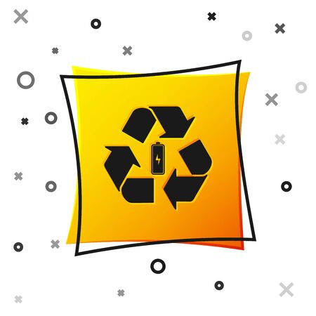 Black Battery with recycle symbol line icon isolated on white background. Battery with recycling symbol - renewable energy concept. Yellow square button. Vector Illustration