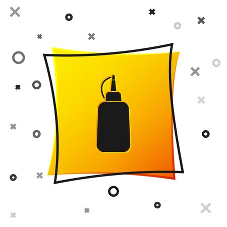 Black Mustard bottle icon isolated on white background. Yellow square button. Vector Illustration Illustration