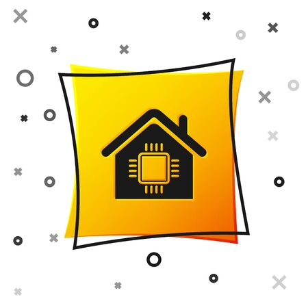 Black Smart home icon isolated on white background. Remote control. Yellow square button. Vector Illustration