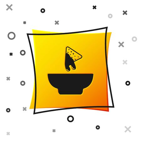 Black Nachos in plate icon isolated on white background. Tortilla chips or nachos tortillas. Traditional mexican fast food. Yellow square button. Vector Illustration