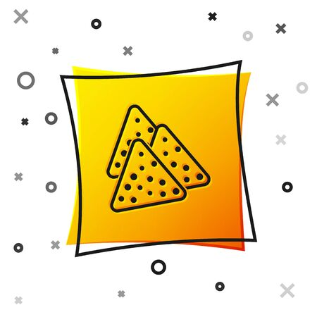 Black Nachos icon isolated on white background. Tortilla chips or nachos tortillas. Traditional mexican fast food. Yellow square button. Vector Illustration