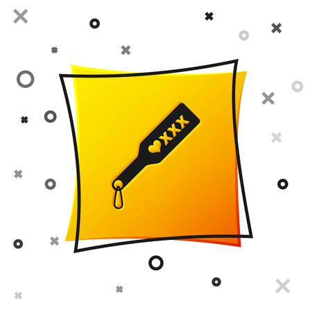 Black Spanking paddle icon isolated on white background. Fetish accessory. Sex toy for adult. Yellow square button. Vector Illustration