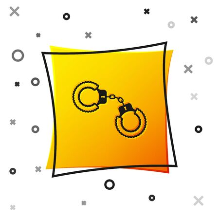 Black Sexy fluffy handcuffs icon isolated on white background. Handcuffs with fur. Fetish accessory. Sex shop stuff for sadist and masochist. Yellow square button. Vector Illustration