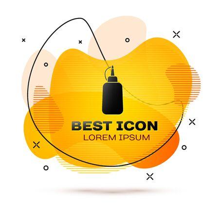 Black Mustard bottle icon isolated on white background. Fluid color banner. Vector Illustration