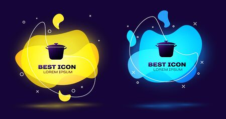 Black Cooking pot icon isolated on blue background. Boil or stew food symbol. Set of liquid color abstract geometric shapes. Vector Illustration