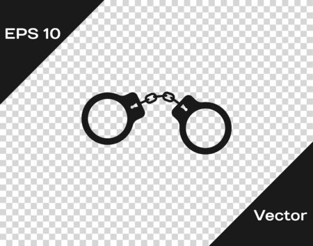 Grey Handcuffs icon isolated on transparent background. Vector Vektorové ilustrace