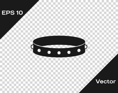 Grey Leather fetish collar with metal spikes on surface icon iso Иллюстрация