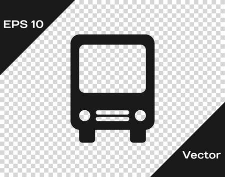 Grey Bus icon isolated on transparent background. Transportation