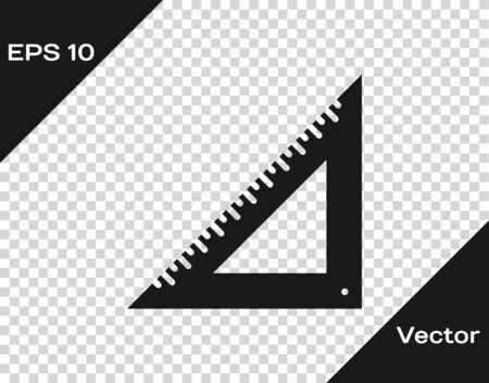 Grey Triangular ruler icon isolated on transparent background.