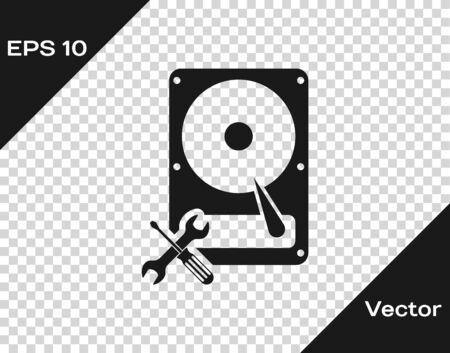 Grey Hard disk drive with screwdriver and wrench icon Illusztráció
