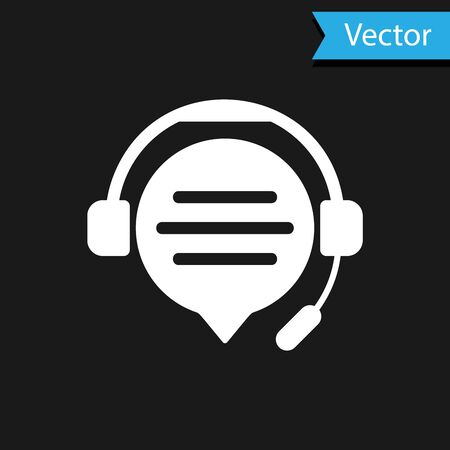 White Headphones with speech bubble chat icon isolated on black background. Support customer service, hotline, call center, faq, maintenance. Vector Illustration