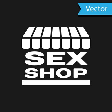 White Sex shop building with striped awning icon isolated on black background. Sex shop, online sex store, adult erotic products concept.  Vector Illustration Illustration