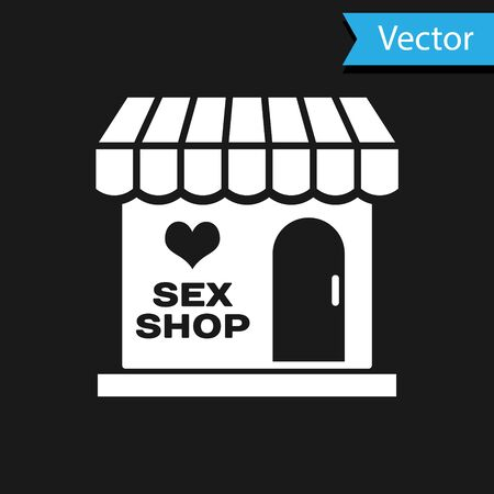 White Sex shop building with striped awning icon isolated on black background. Sex shop, online sex store, adult erotic products concept.  Vector Illustration  イラスト・ベクター素材