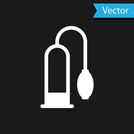 White Penis pump icon isolated on black background. Penis enlarger. Sex toy for men. Vacuum pump with a blower to increase the penis.  Vector Illustration Vettoriali