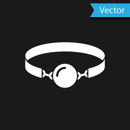 White Silicone ball gag with a leather belt icon isolated on black background. Fetish accessory. Sex toy for men and woman.  Vector Illustration Illustration