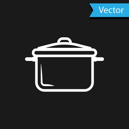 White Cooking pot icon isolated on black background. Boil or stew food symbol. Vector Illustration
