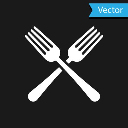 White Crossed fork icon isolated on black background. Cutlery symbol. Vector Illustration Illustration