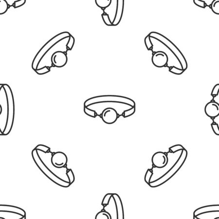 Grey Silicone ball gag with a leather belt icon isolated seamless pattern on white background. Fetish accessory. Sex toy for men and woman. Vector Illustration