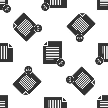 Grey File document with screwdriver and wrench icon isolated seamless pattern on white background. Adjusting, service, setting, maintenance, repair, fixing. Vector Illustration
