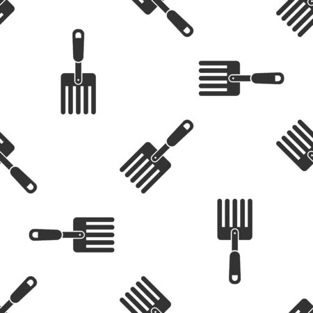 Grey Garden fork icon isolated seamless pattern on white background. Pitchfork icon. Tool for horticulture, agriculture, farming. Vector Illustration