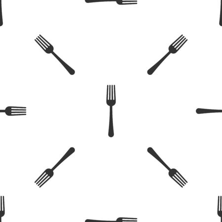 Grey Fork icon isolated seamless pattern on white background. Cutlery symbol. Vector Illustration