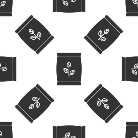 Grey Fertilizer bag icon isolated seamless pattern on white background. Vector Illustration