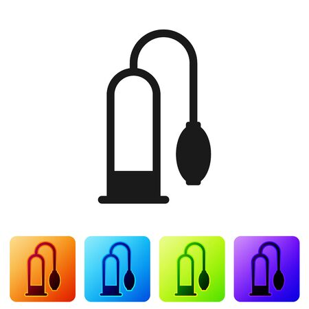 Black Penis pump icon isolated on white background. Penis enlarger. Sex toy for men. Vacuum pump with a blower to increase the penis. Set icon in color square buttons. Vector Illustration