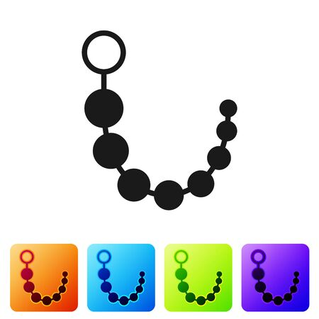Black Anal beads icon isolated on white background. Anal balls sign. Fetish accessory. Sex toy for men and woman. Set icon in color square buttons. Vector Illustration